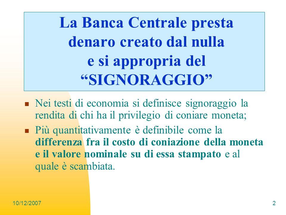 La Banca Centrale presta denaro creato dal nulla e si appropria del SIGNORAGGIO