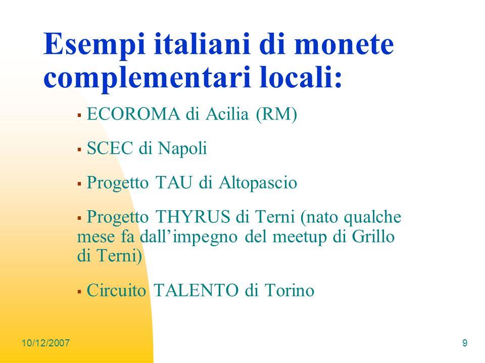 Esempi italiani di monete complementari locali: