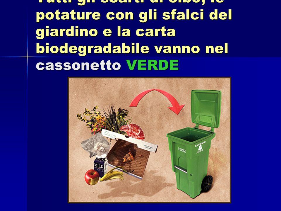 Tutti gli scarti di cibo, le potature con gli sfalci del giardino e la carta biodegradabile vanno nel cassonetto VERDE