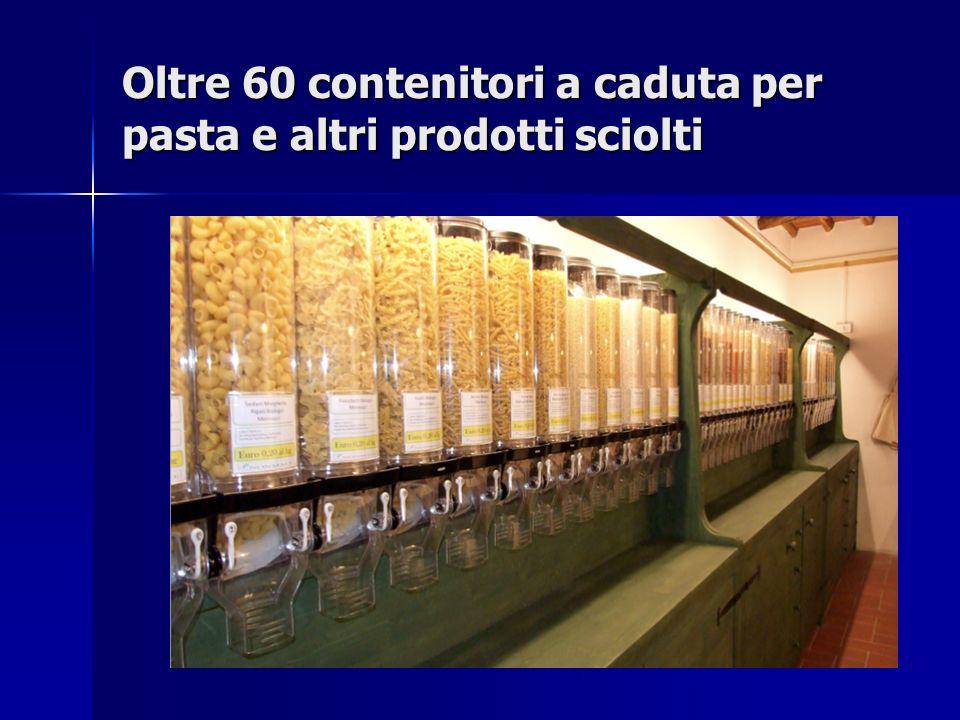 Oltre 60 contenitori a caduta per pasta e altri prodotti sciolti