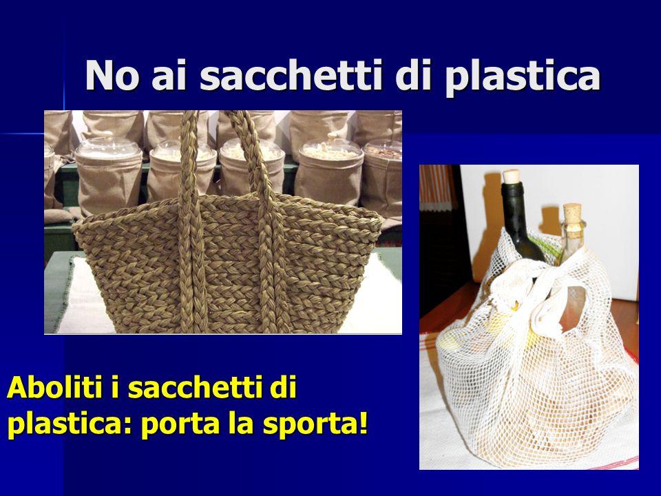 No ai sacchetti di plastica
