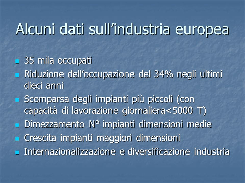 Alcuni dati sull'industria europea
