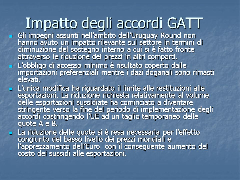 Impatto degli accordi GATT