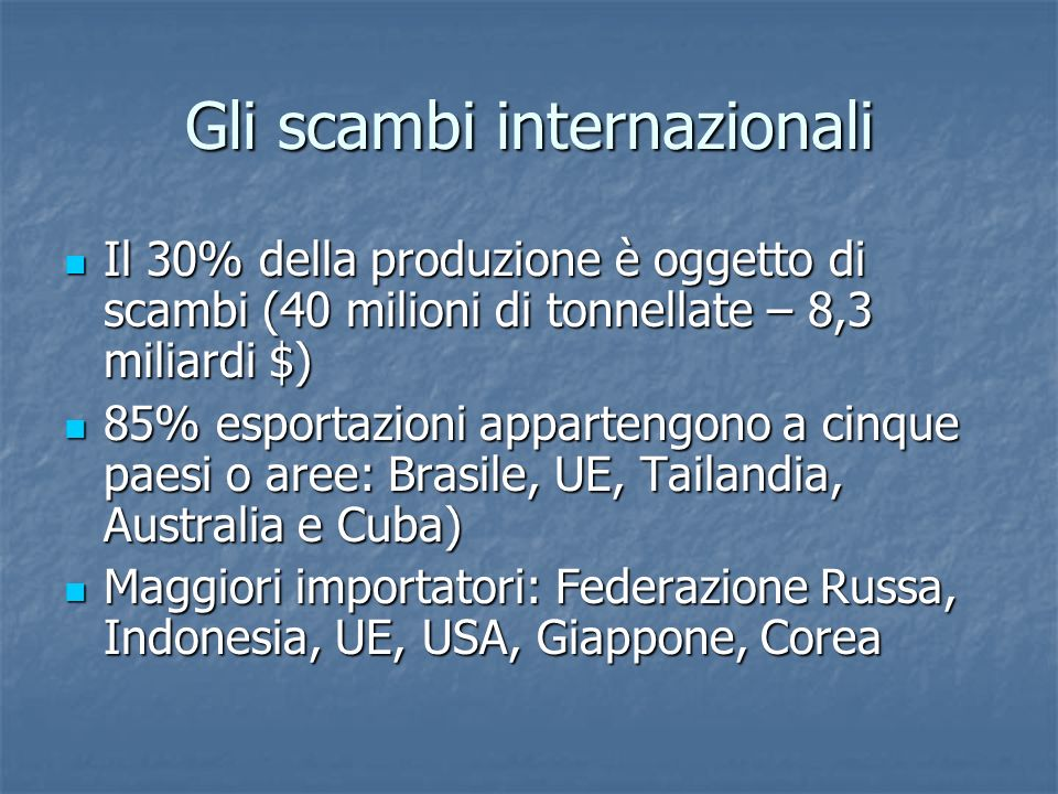 Gli scambi internazionali