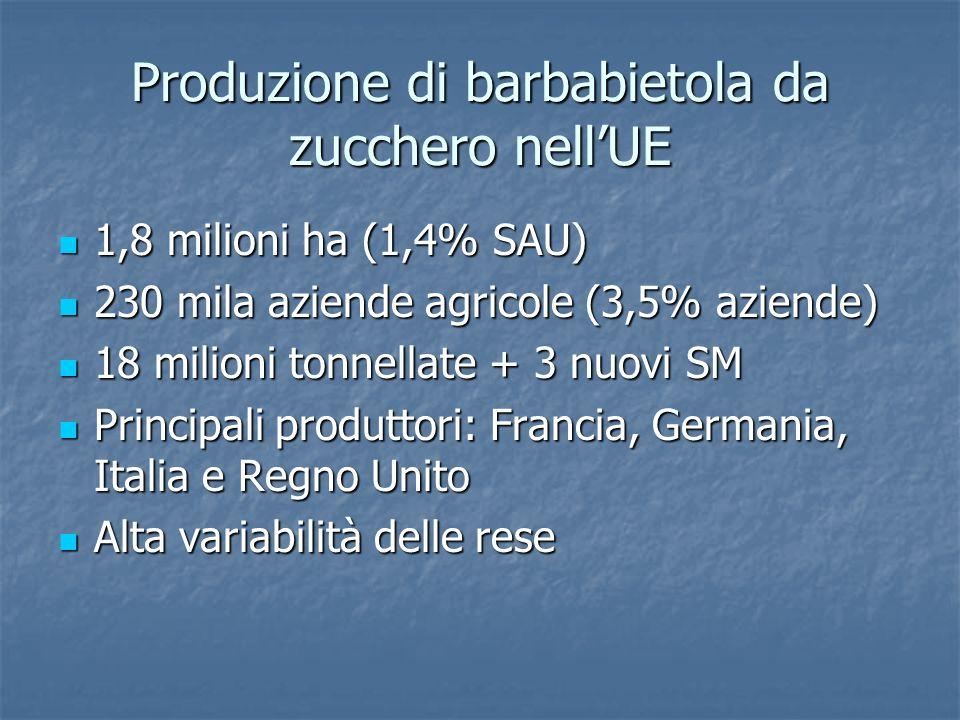 Produzione di barbabietola da zucchero nell'UE