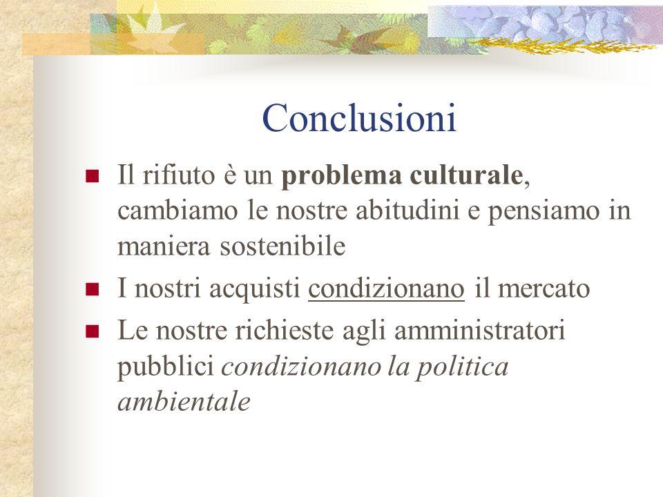 Conclusioni Il rifiuto è un problema culturale, cambiamo le nostre abitudini e pensiamo in maniera sostenibile.