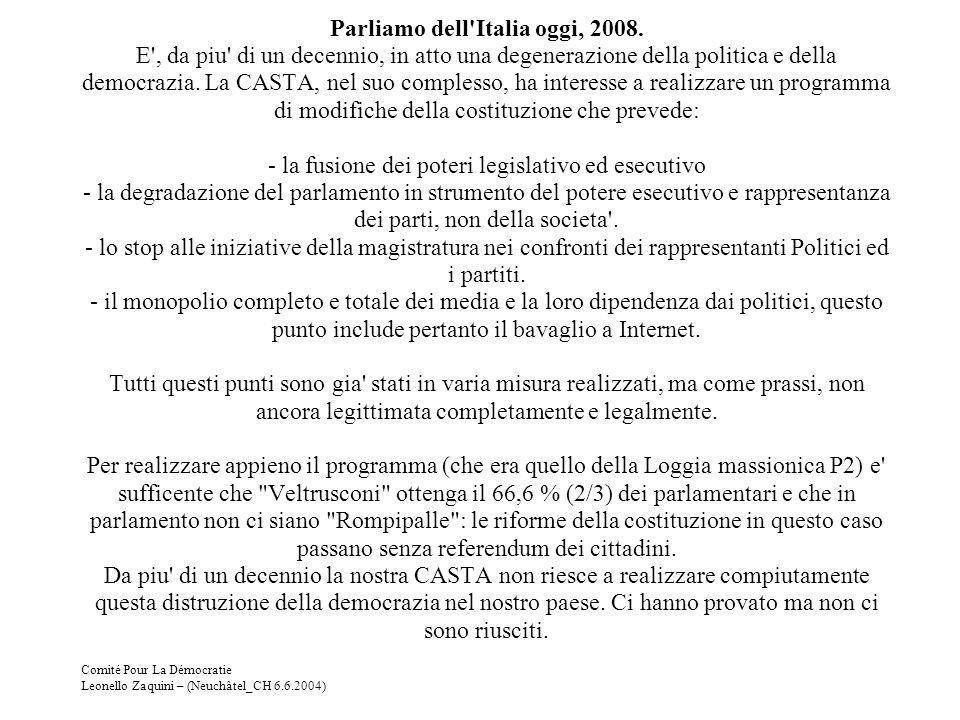 Parliamo dell Italia oggi, 2008