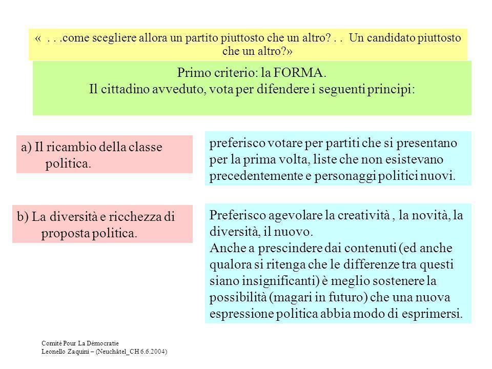 a) Il ricambio della classe politica.