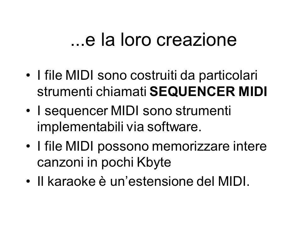 ...e la loro creazione I file MIDI sono costruiti da particolari strumenti chiamati SEQUENCER MIDI.