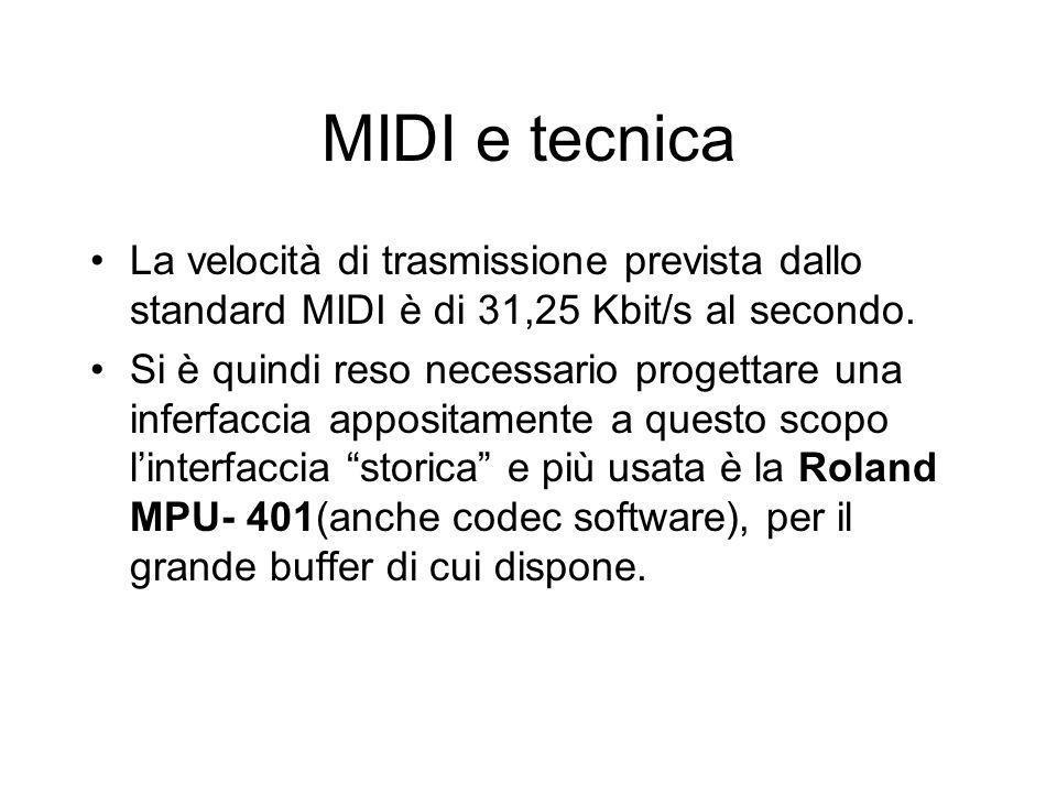MIDI e tecnica La velocità di trasmissione prevista dallo standard MIDI è di 31,25 Kbit/s al secondo.