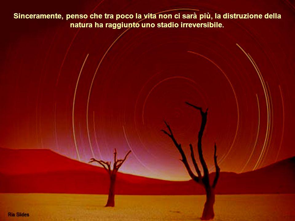 Sinceramente, penso che tra poco la vita non ci sarà più, la distruzione della natura ha raggiunto uno stadio irreversibile.