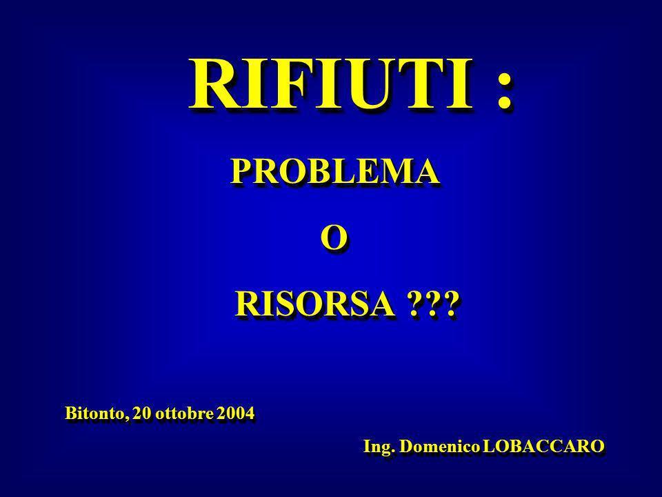 RIFIUTI : PROBLEMA O RISORSA Bitonto, 20 ottobre 2004