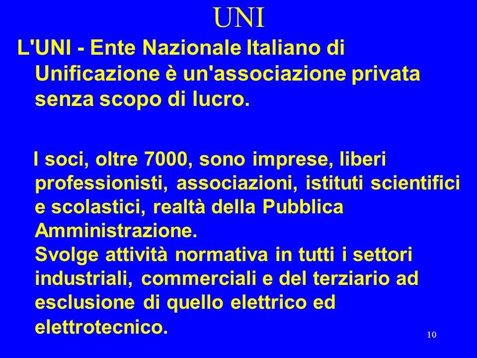 UNI L UNI - Ente Nazionale Italiano di Unificazione è un associazione privata senza scopo di lucro.