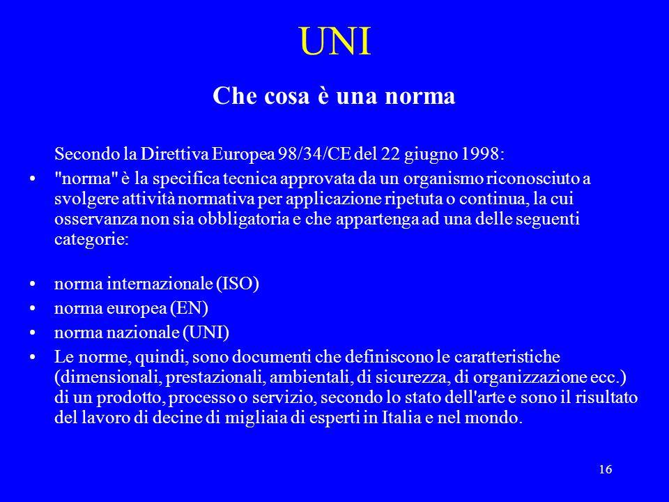 UNI Che cosa è una norma. Secondo la Direttiva Europea 98/34/CE del 22 giugno 1998: