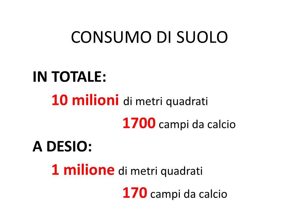 CONSUMO DI SUOLO IN TOTALE: 10 milioni di metri quadrati