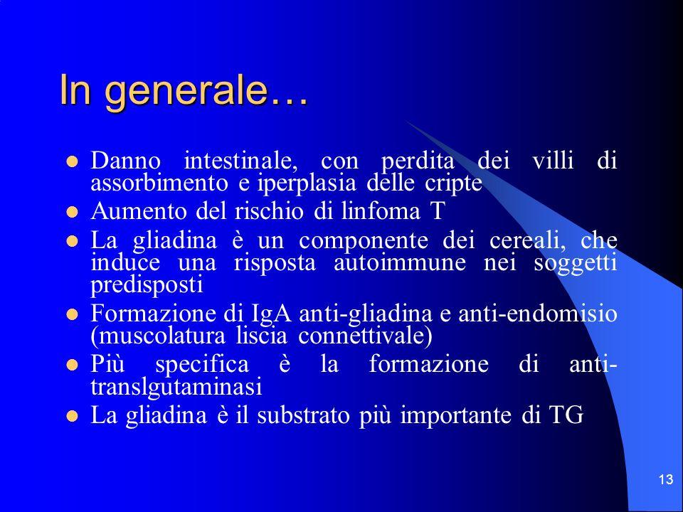 In generale… Danno intestinale, con perdita dei villi di assorbimento e iperplasia delle cripte. Aumento del rischio di linfoma T.