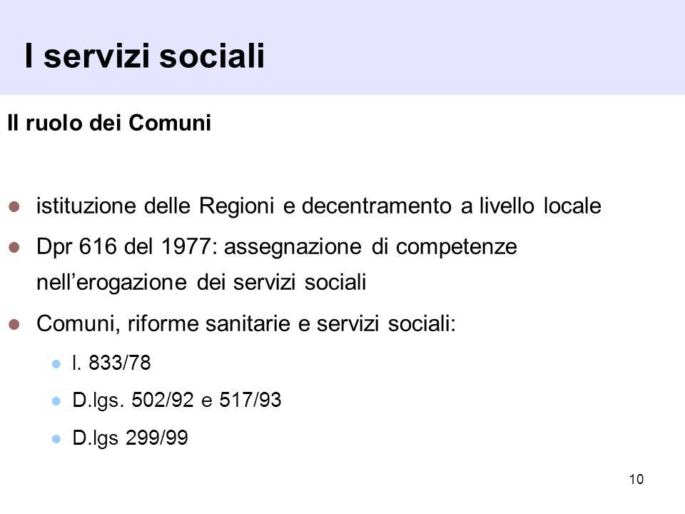 I servizi sociali Il ruolo dei Comuni