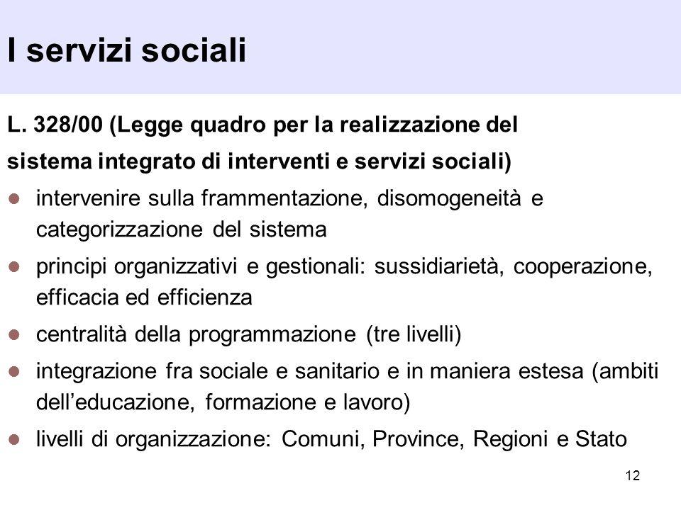 I servizi sociali L. 328/00 (Legge quadro per la realizzazione del