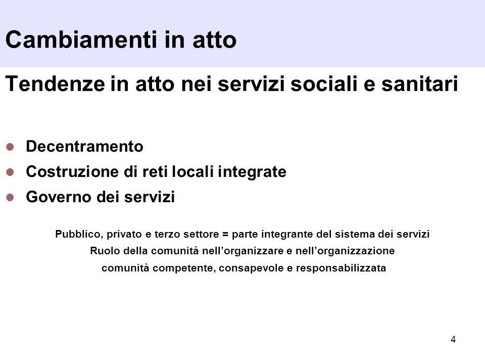 Cambiamenti in atto Tendenze in atto nei servizi sociali e sanitari