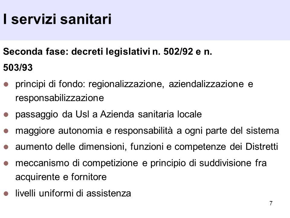 I servizi sanitari Seconda fase: decreti legislativi n. 502/92 e n.