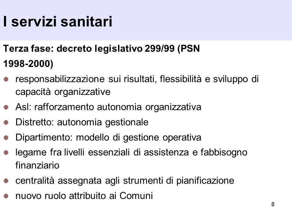 I servizi sanitari Terza fase: decreto legislativo 299/99 (PSN