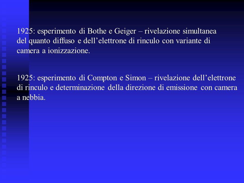 1925: esperimento di Bothe e Geiger – rivelazione simultanea