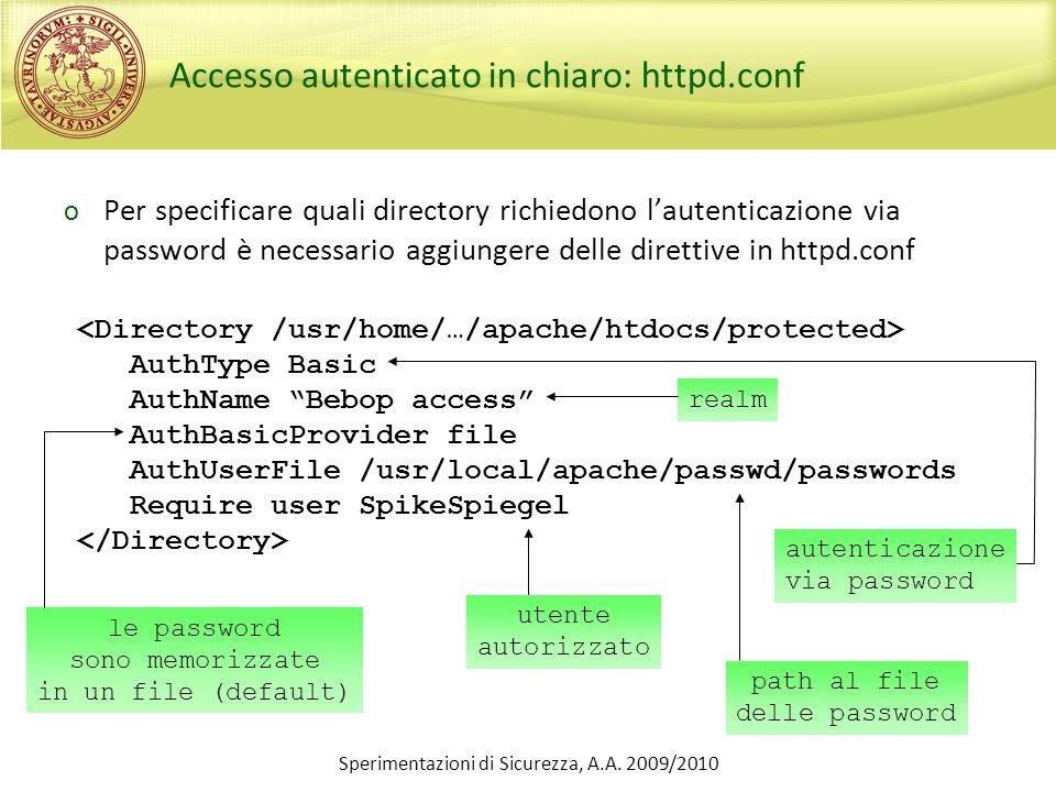 Accesso autenticato in chiaro: httpd.conf