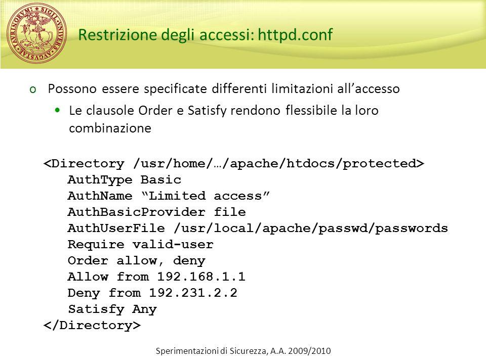 Restrizione degli accessi: httpd.conf