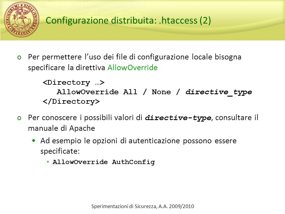 Configurazione distribuita: .htaccess (2)