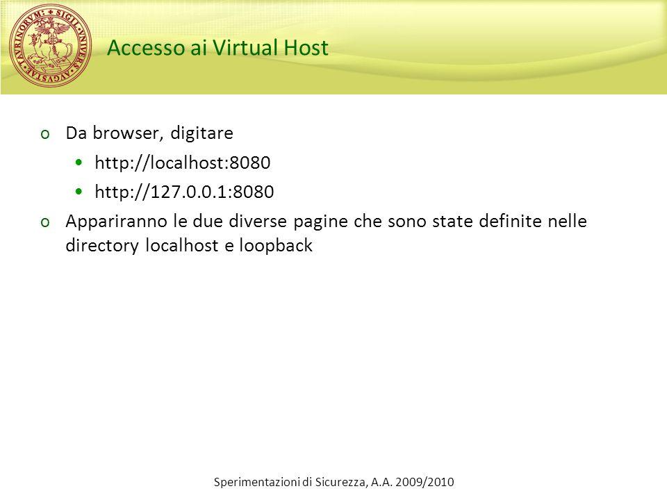 Accesso ai Virtual Host
