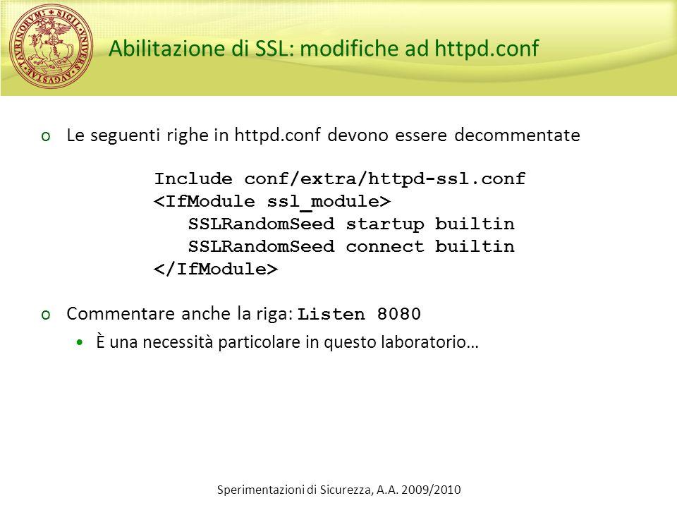 Abilitazione di SSL: modifiche ad httpd.conf
