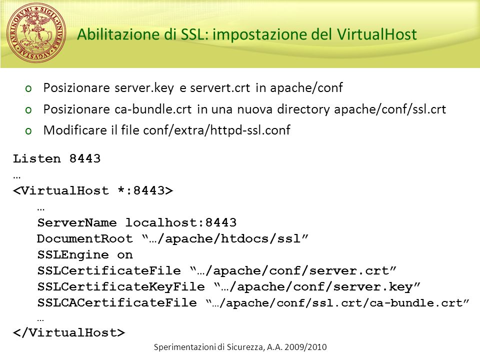 Abilitazione di SSL: impostazione del VirtualHost