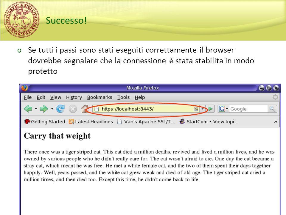 Successo! Se tutti i passi sono stati eseguiti correttamente il browser dovrebbe segnalare che la connessione è stata stabilita in modo protetto.