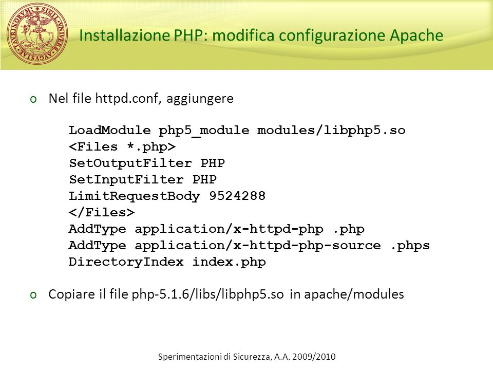 Installazione PHP: modifica configurazione Apache
