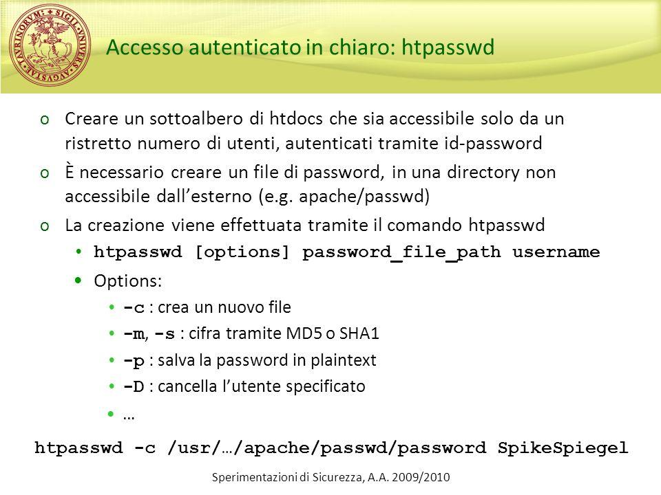 Accesso autenticato in chiaro: htpasswd