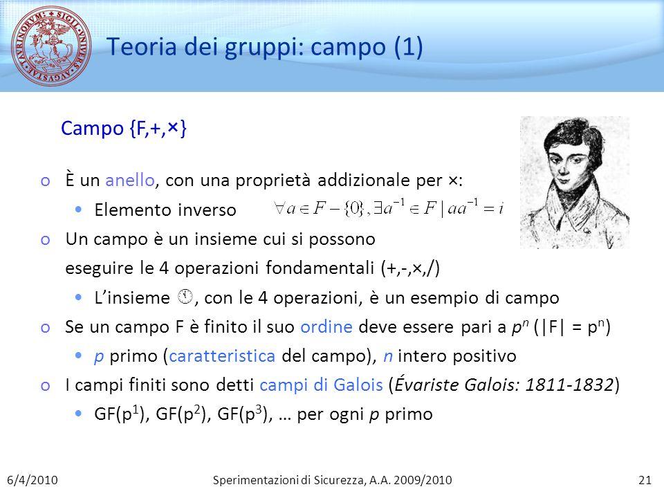 Teoria dei gruppi: campo (1)
