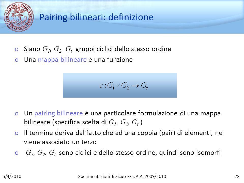 Pairing bilineari: definizione