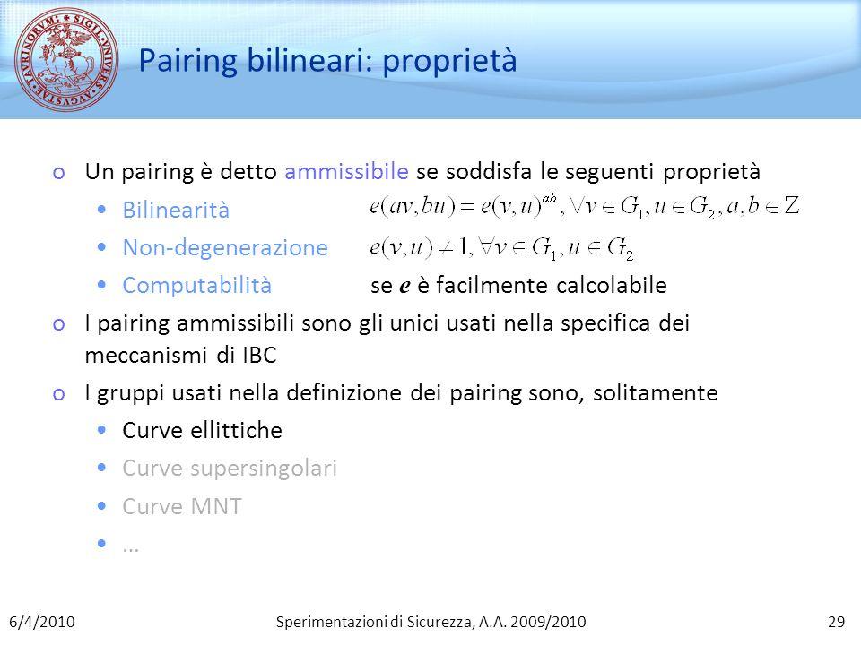 Pairing bilineari: proprietà