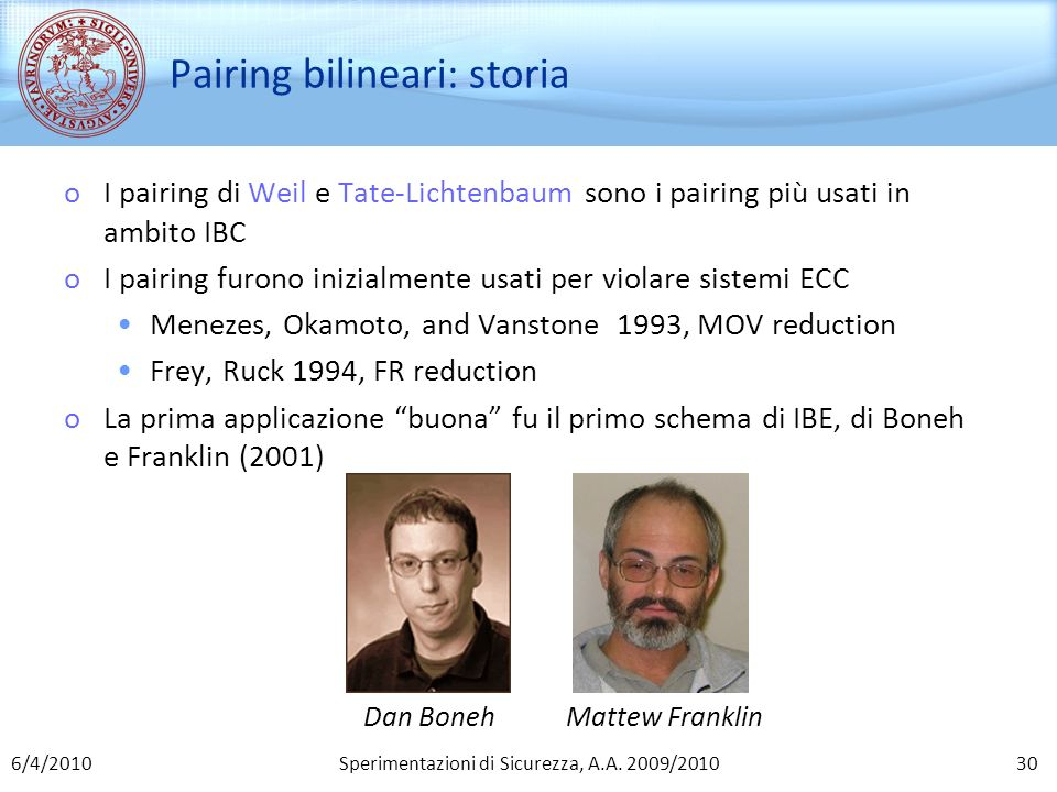 Pairing bilineari: storia