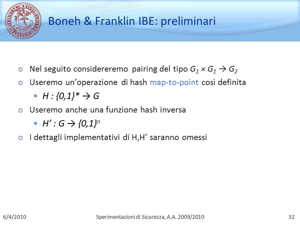 Boneh & Franklin IBE: preliminari