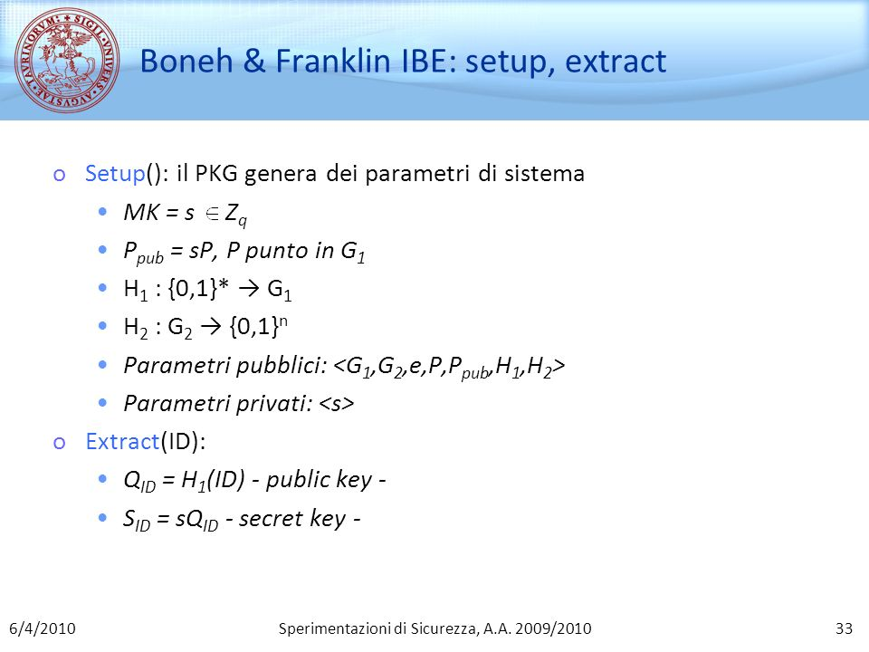 Boneh & Franklin IBE: setup, extract