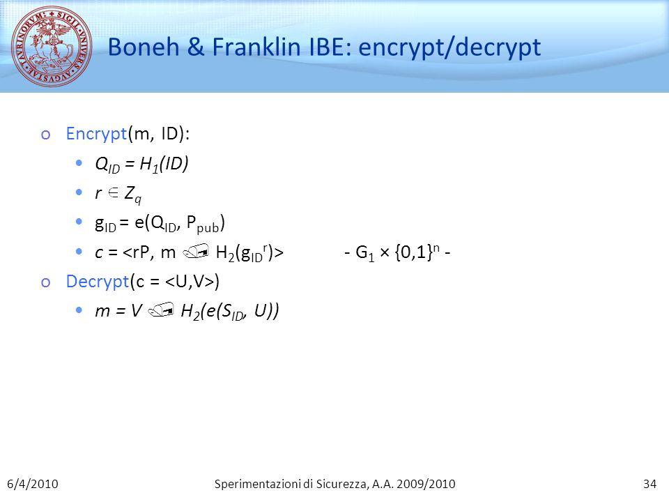 Boneh & Franklin IBE: encrypt/decrypt