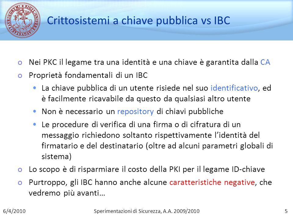 Crittosistemi a chiave pubblica vs IBC