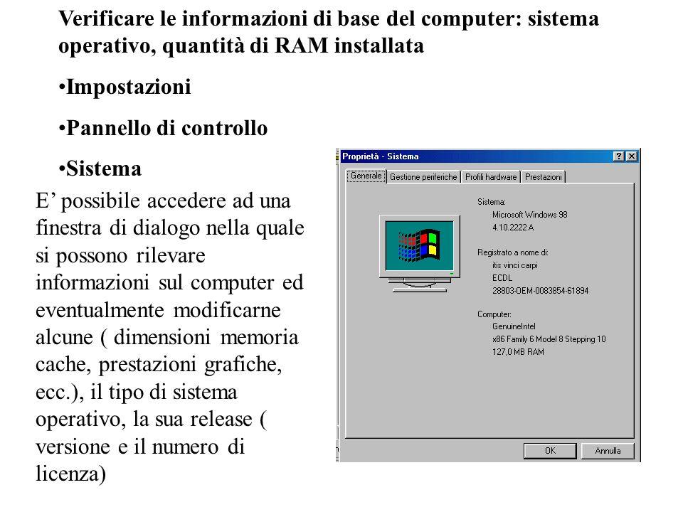 Verificare le informazioni di base del computer: sistema operativo, quantità di RAM installata