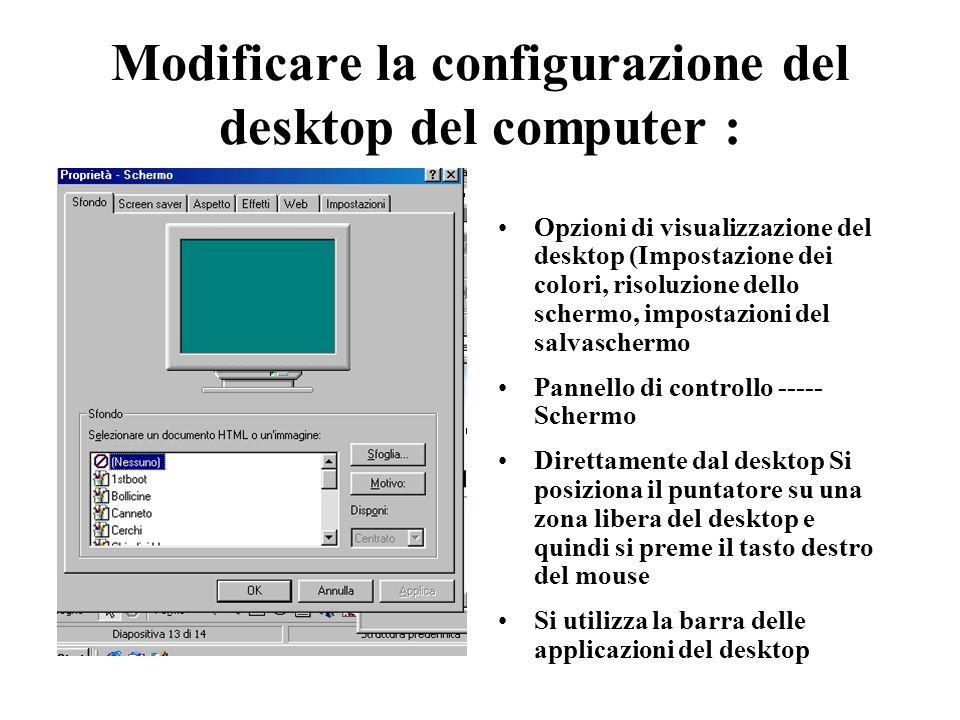 Modificare la configurazione del desktop del computer :