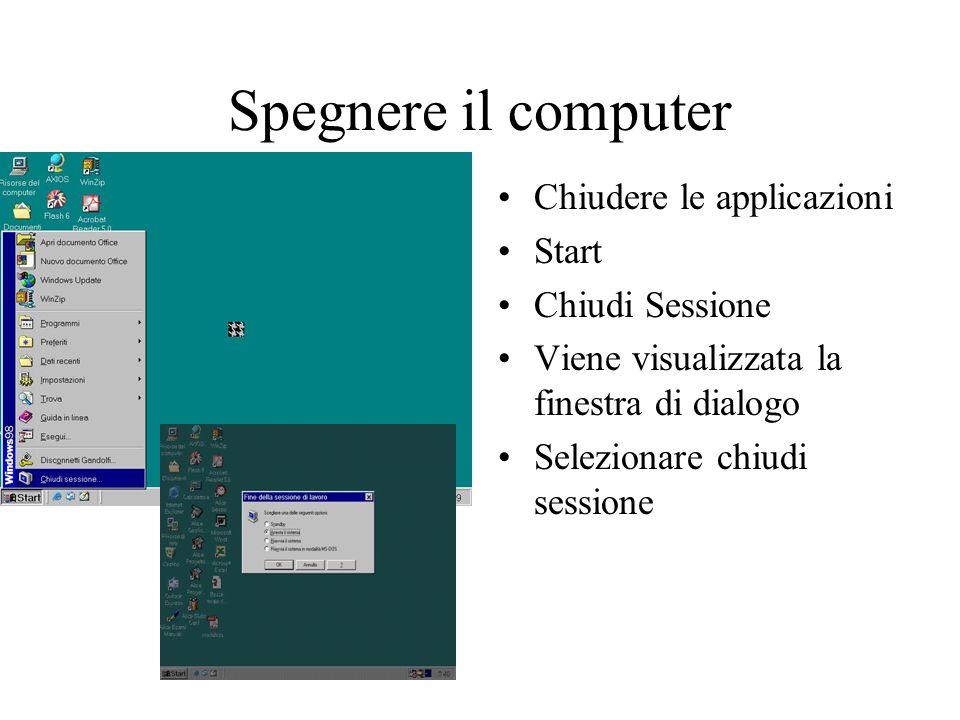 Spegnere il computer Chiudere le applicazioni Start Chiudi Sessione
