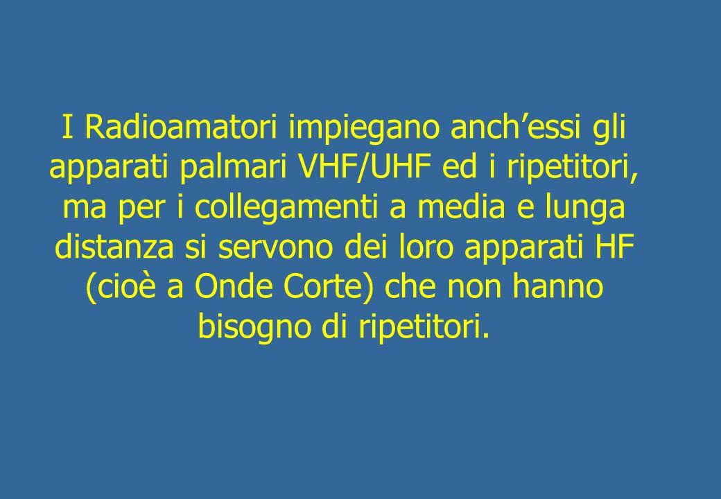 I Radioamatori impiegano anch'essi gli apparati palmari VHF/UHF ed i ripetitori, ma per i collegamenti a media e lunga distanza si servono dei loro apparati HF (cioè a Onde Corte) che non hanno bisogno di ripetitori.