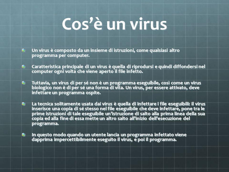 Cos'è un virus Un virus è composto da un insieme di istruzioni, come qualsiasi altro programma per computer.