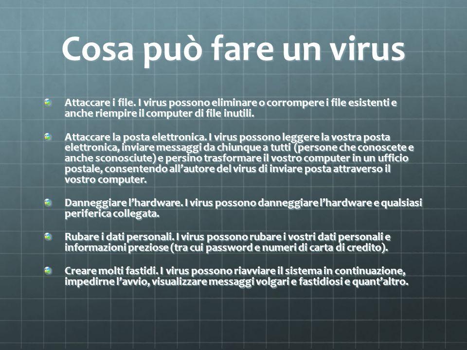 Cosa può fare un virus Attaccare i file. I virus possono eliminare o corrompere i file esistenti e anche riempire il computer di file inutili.