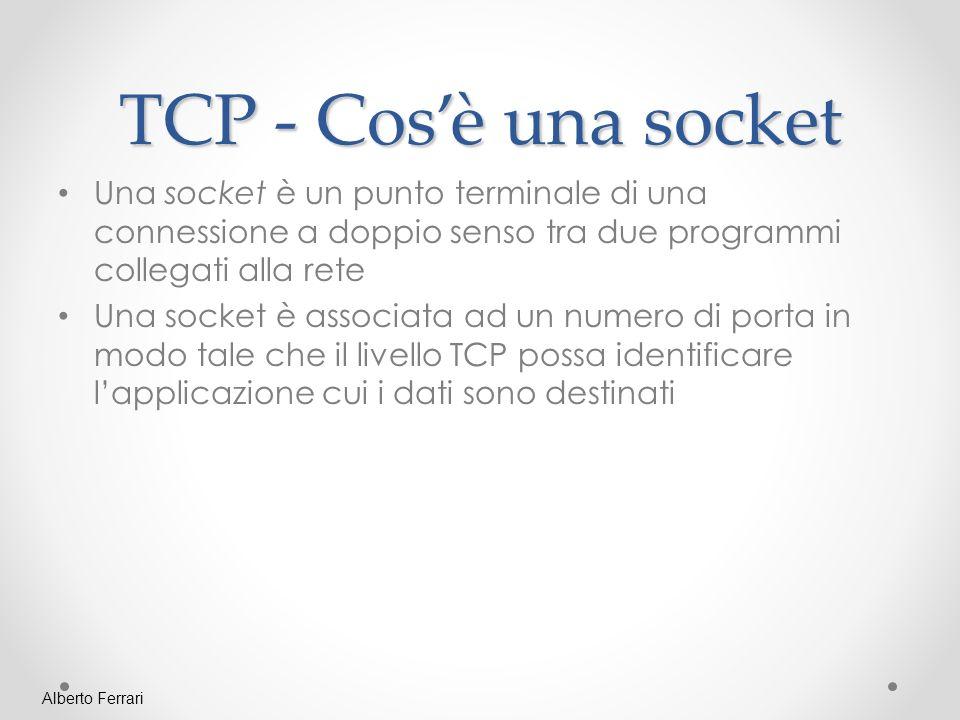 TCP - Cos'è una socket Una socket è un punto terminale di una connessione a doppio senso tra due programmi collegati alla rete.